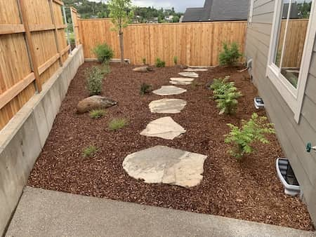 Small retaining wall in backyard