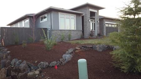 Natural rock and custom paver patio