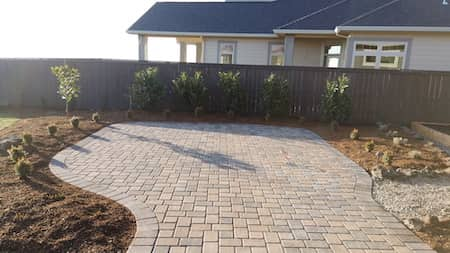 Paver patio in backyard