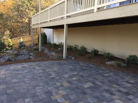 Paver patio in back yard at Medford project