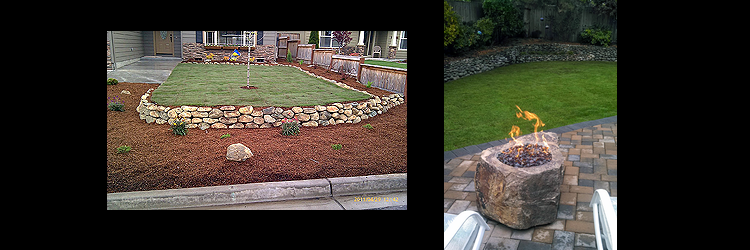custom fire pit and retaining wall
