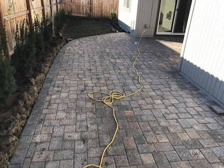 Paver patio in side yard