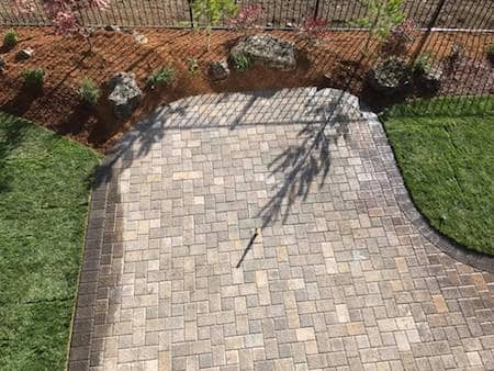 Drone view of paver patio