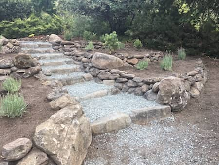 Natural Stone Walkway Landscaping - before and after