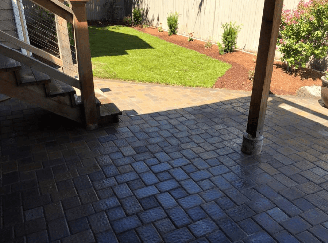 light covered patio brick walk way