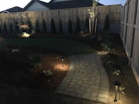 Paver Walk Way With Landscape Lighting