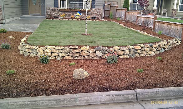 natural stone features in landscaping