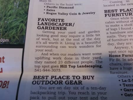 Best Landscaper In Rogue Valley 2013